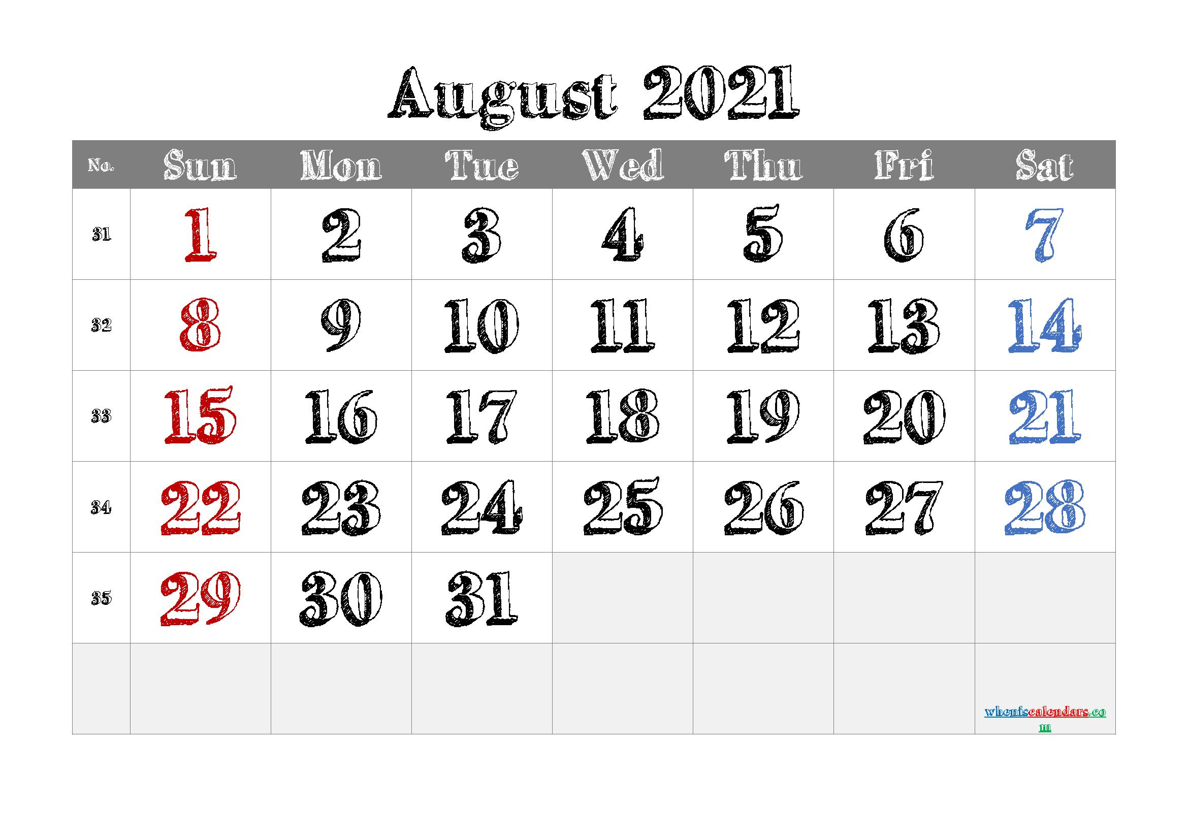 Printable August 2021 Calendar Pdf | Template