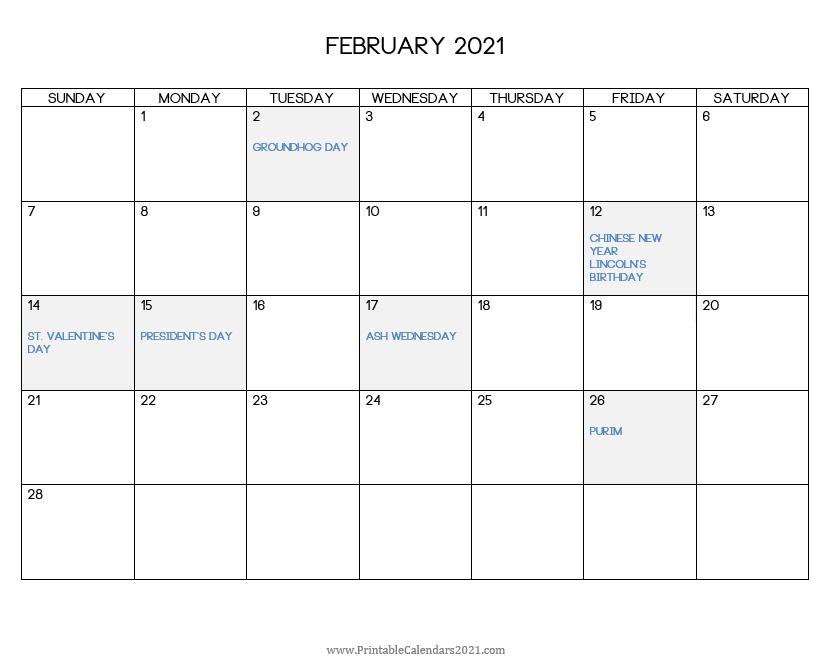 Printable Calendar February 2021 With Holidays Blank