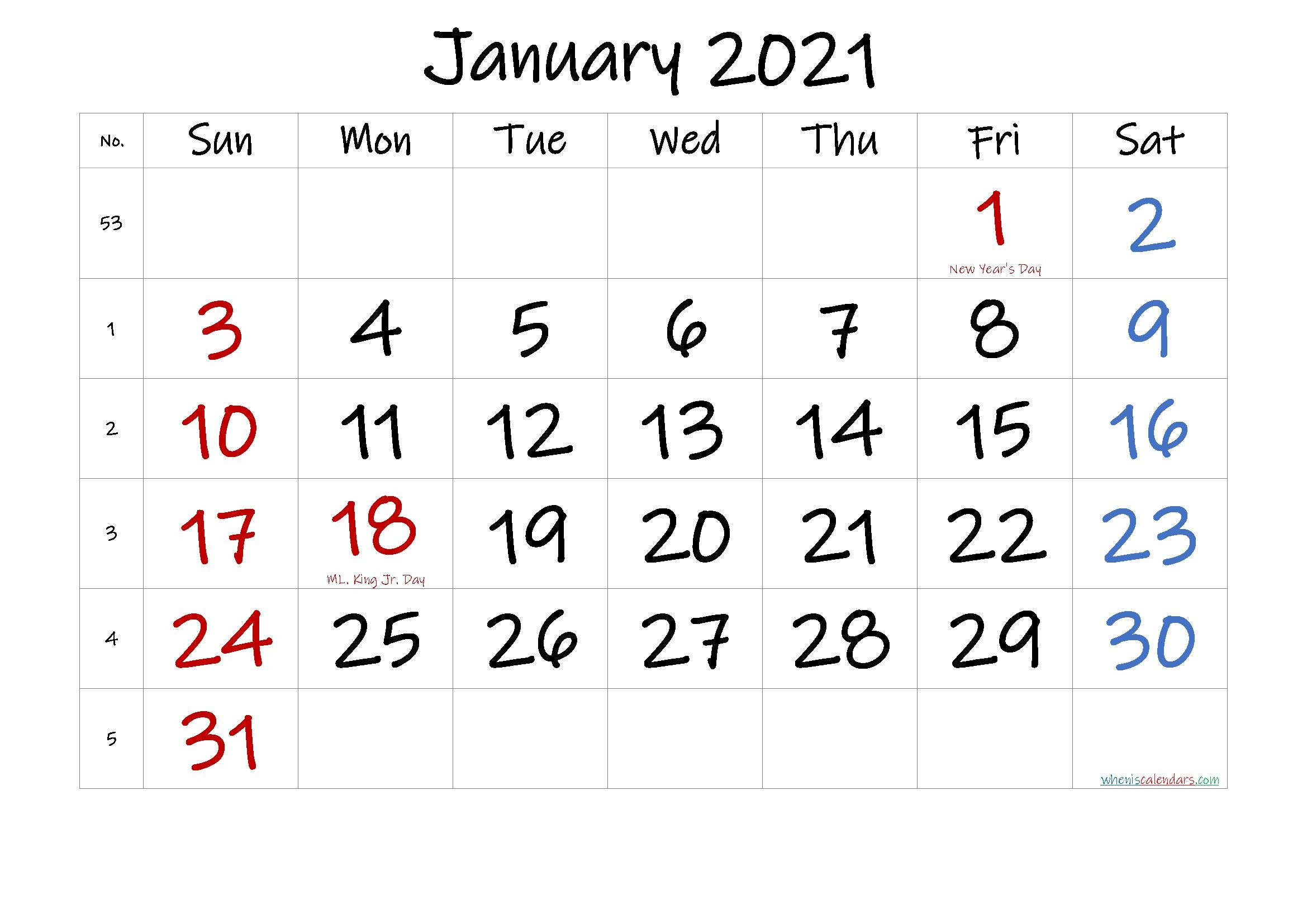 Printable Calendar January 2021 In 2020 | Printable