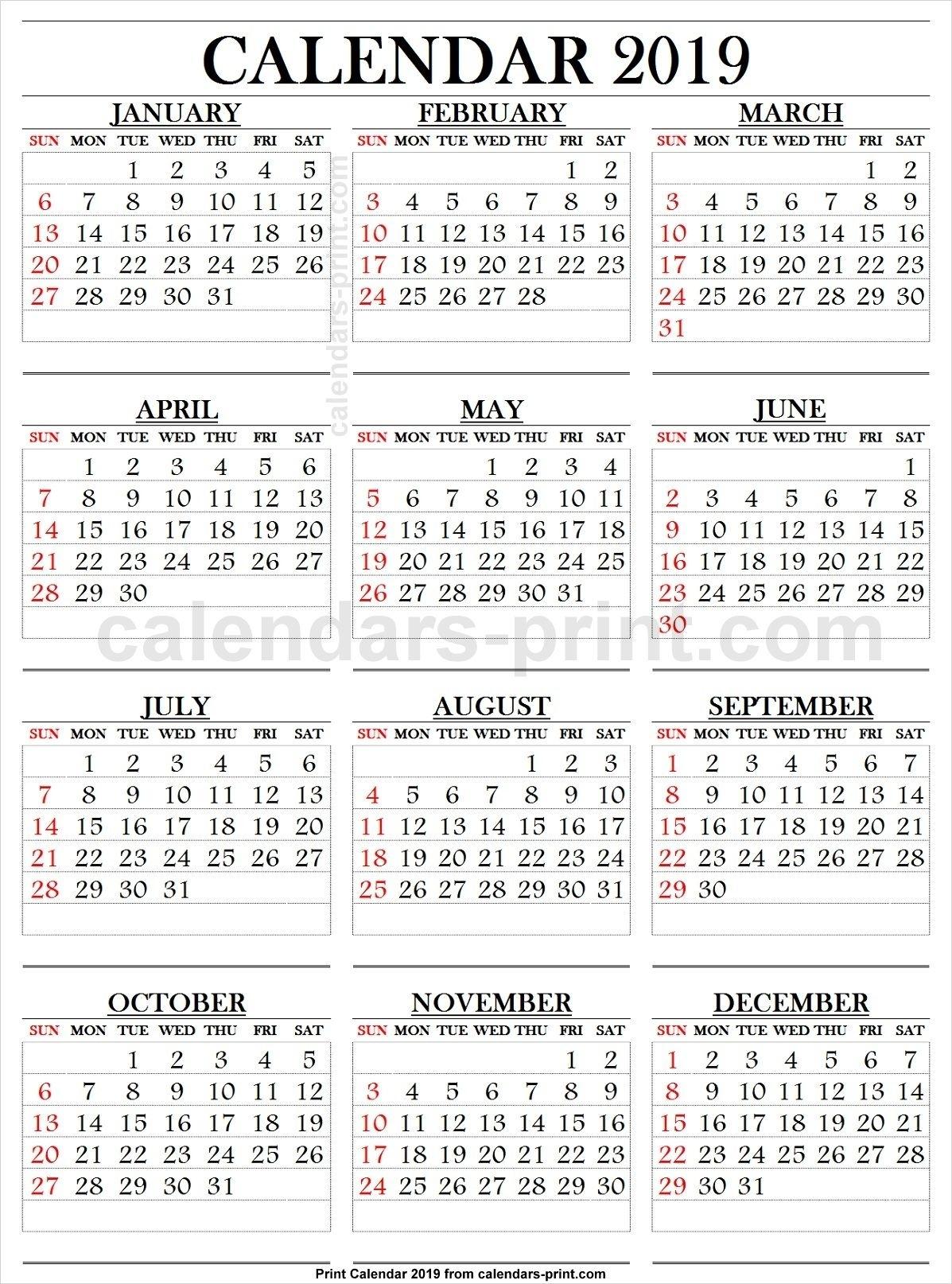 Printable Calendar Large Print   Ten Free Printable