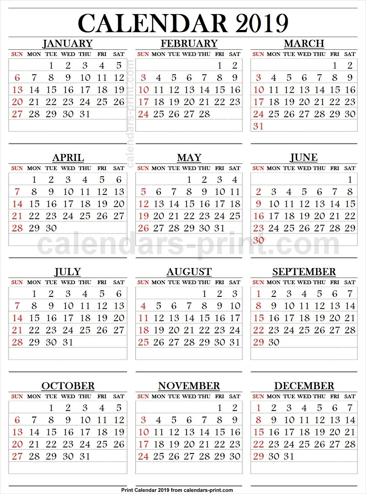 Printable Calendar Large Print | Ten Free Printable
