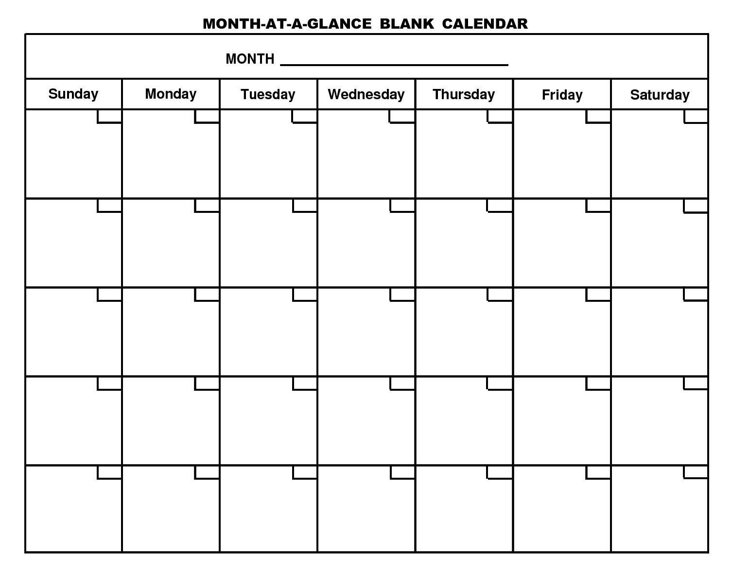 Printable Calendar Large Spaces | Ten Free Printable