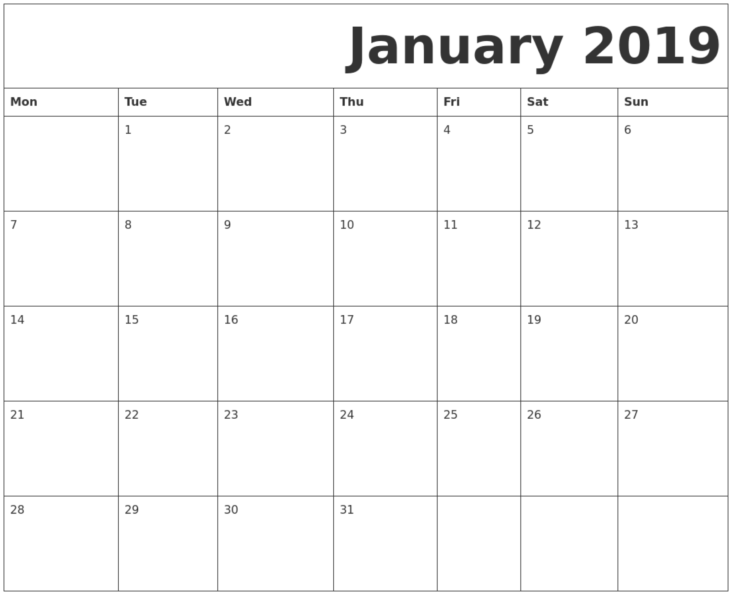 Printable Calendar Monday Start | Ten Free Printable
