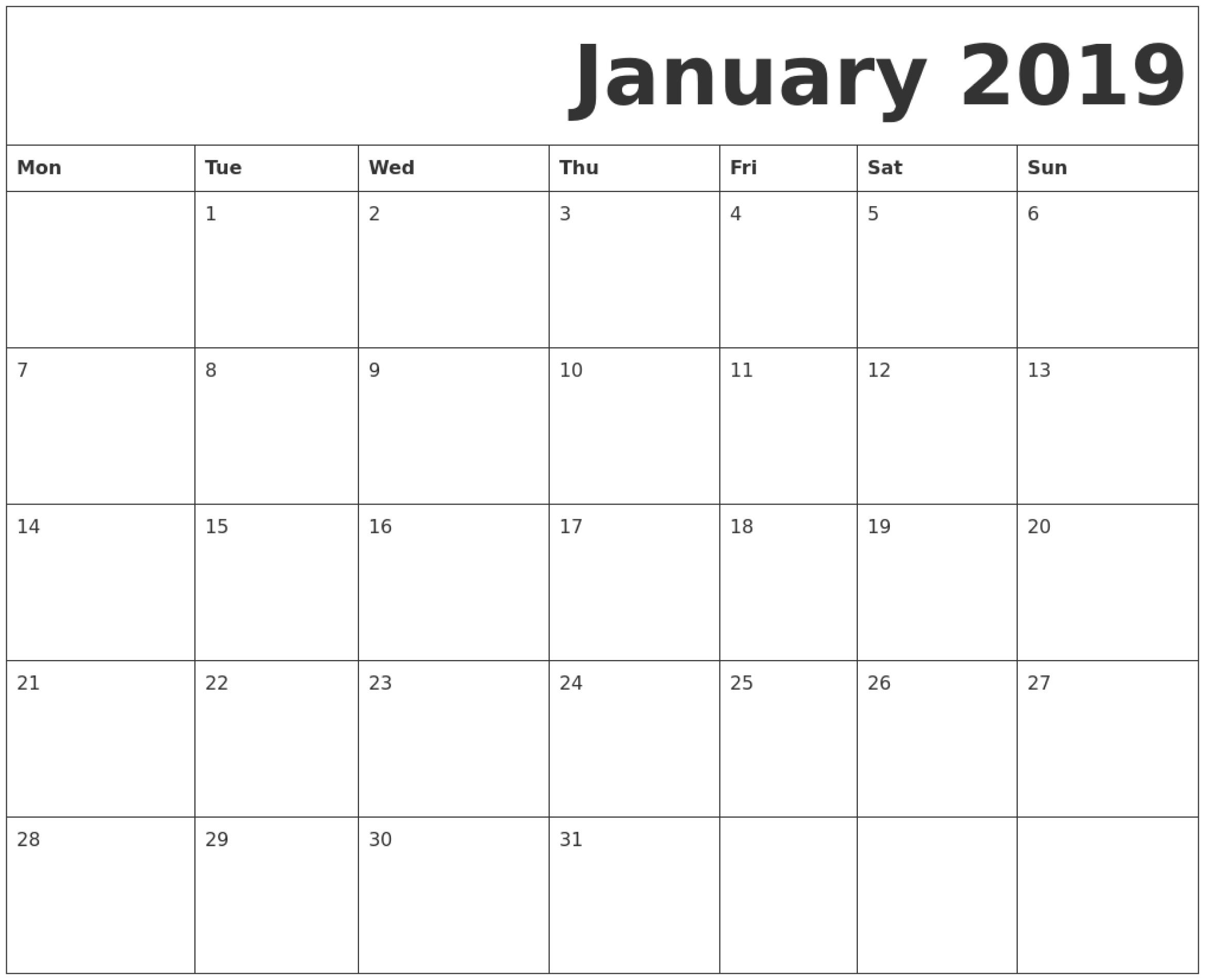 Printable Calendar Monday Start   Ten Free Printable