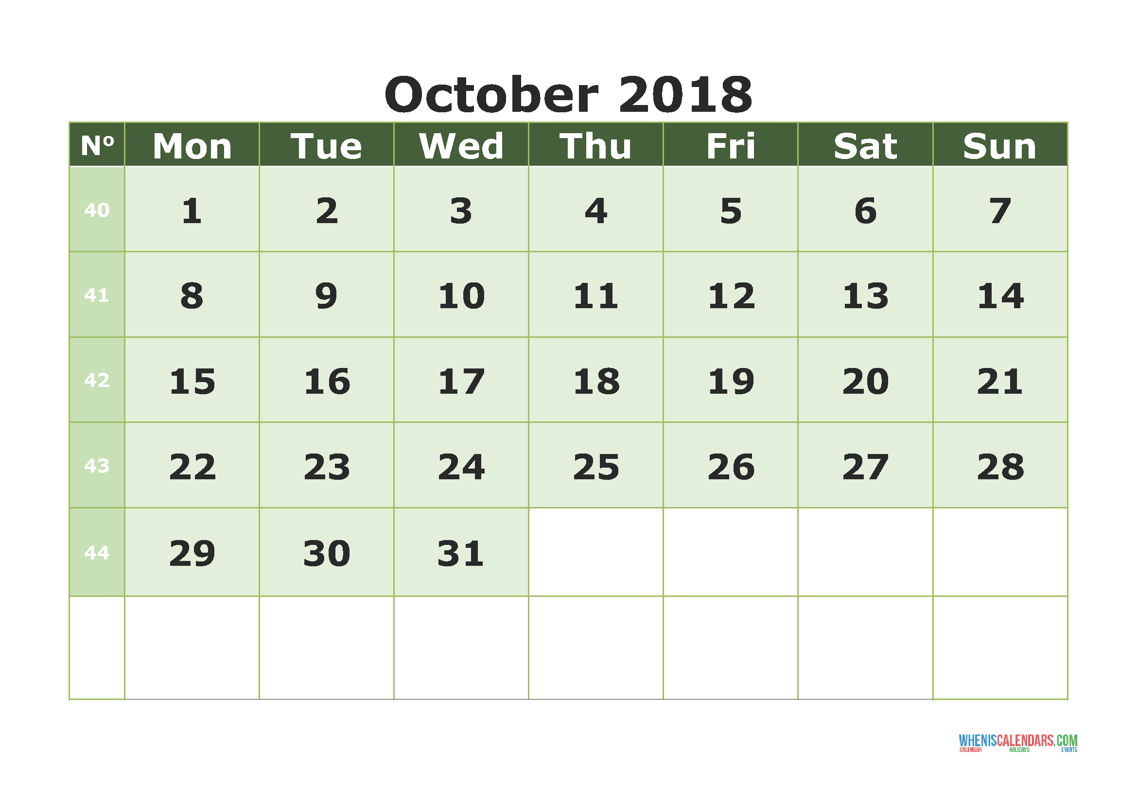 Printable Calendar October 2018 With Week Numbers (Monday