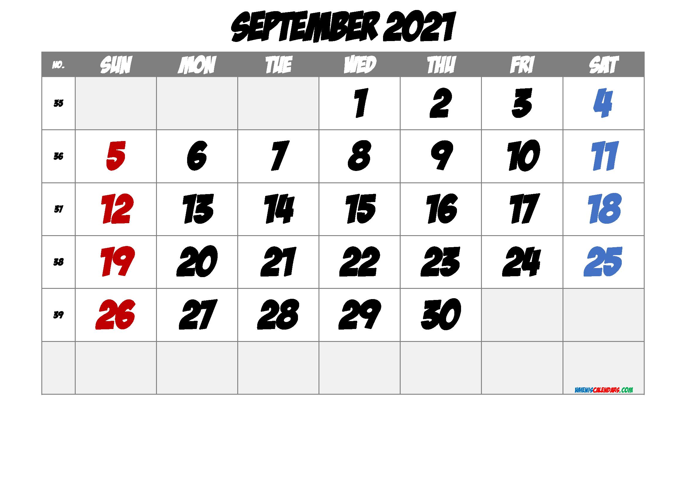 Printable Calendar September 2021 - 6 Templates | Free