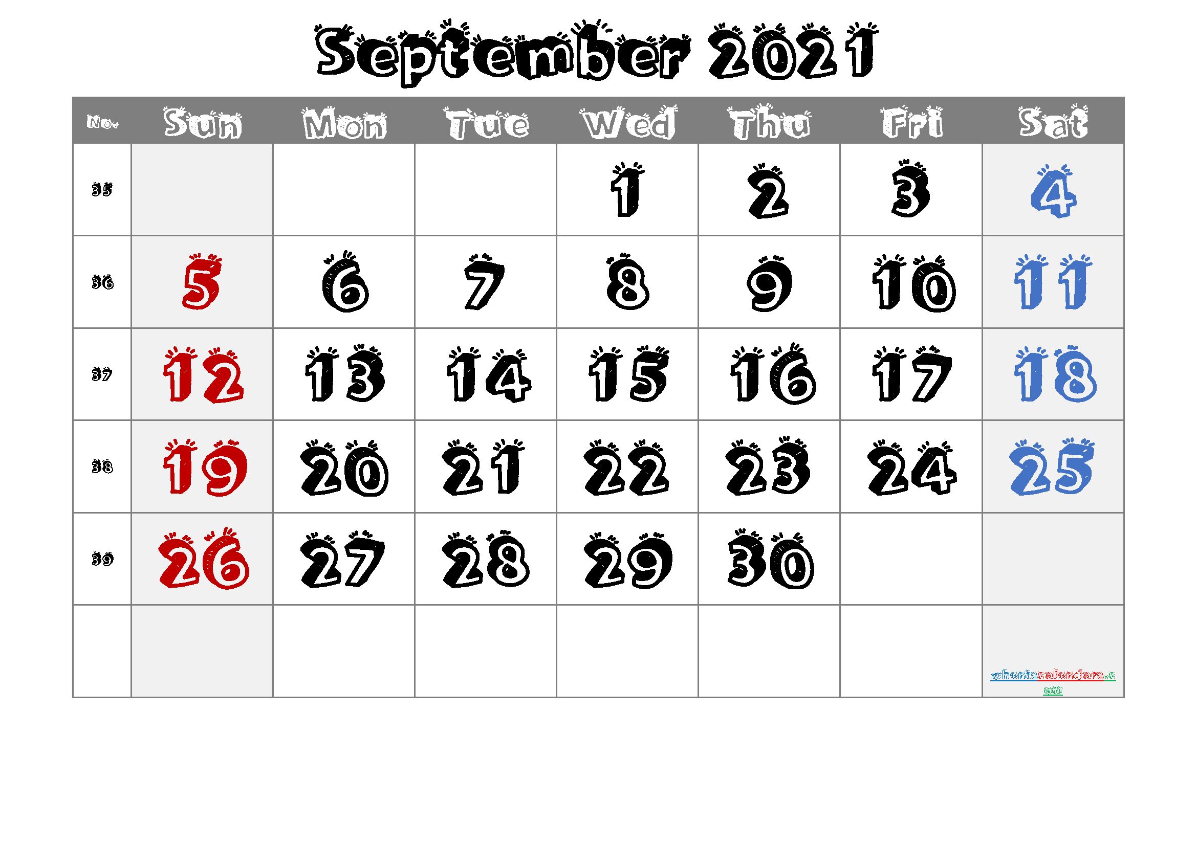 Printable Calendar September 2021 [Free Premium] In 2020