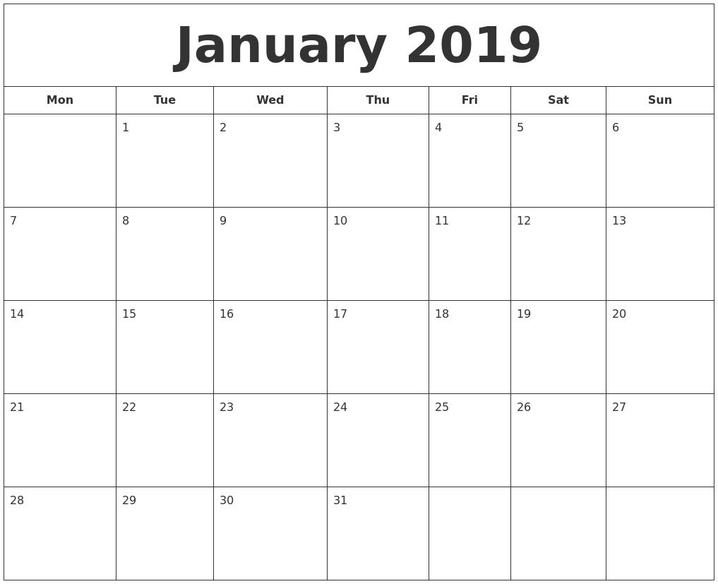 Printable Calendar Starting With Monday | Ten Free