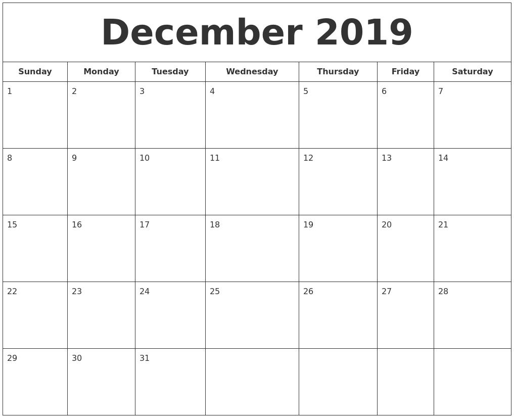 Printable Calendar Sunday Through Saturday | Month