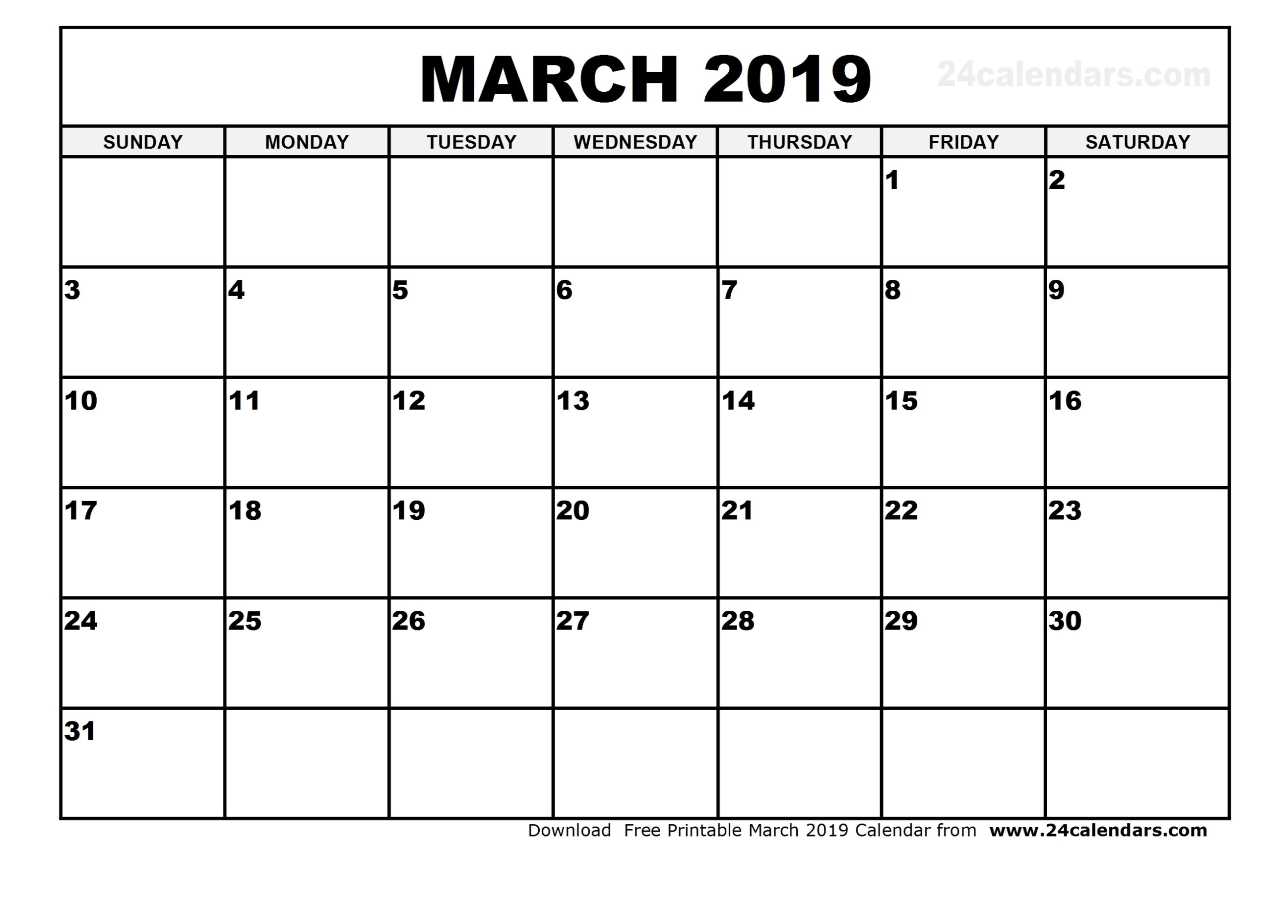 Printable Calendar With Large Numbers | Calendar Template