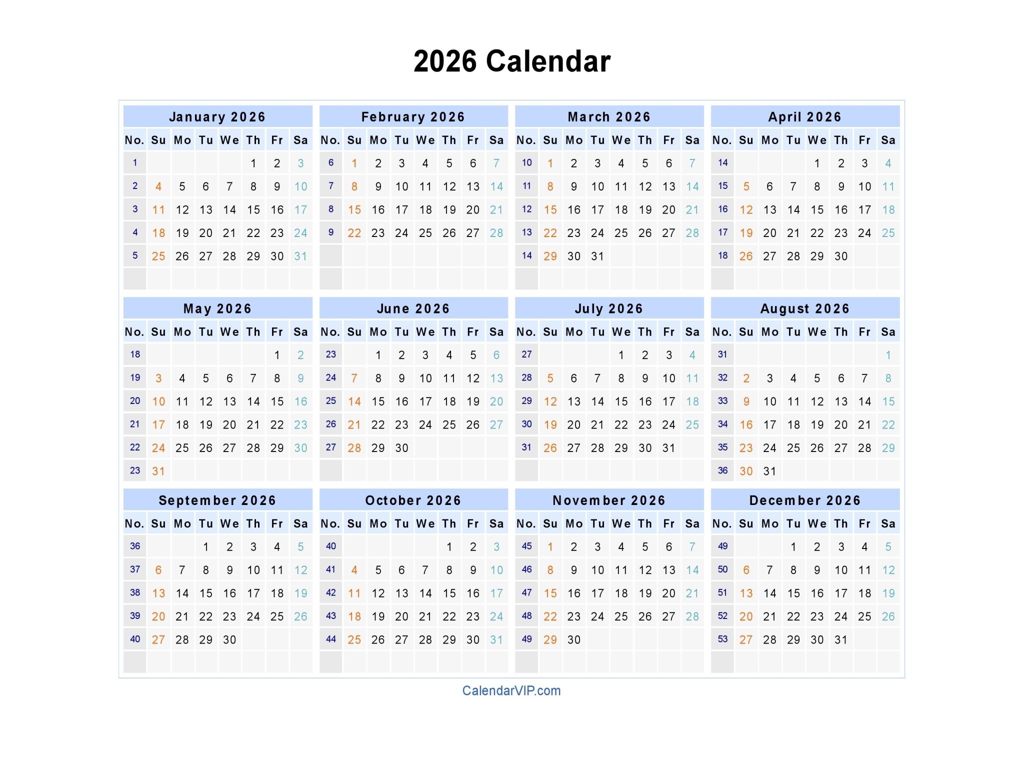 Printable Calendar With Week Numbers | Ten Free Printable
