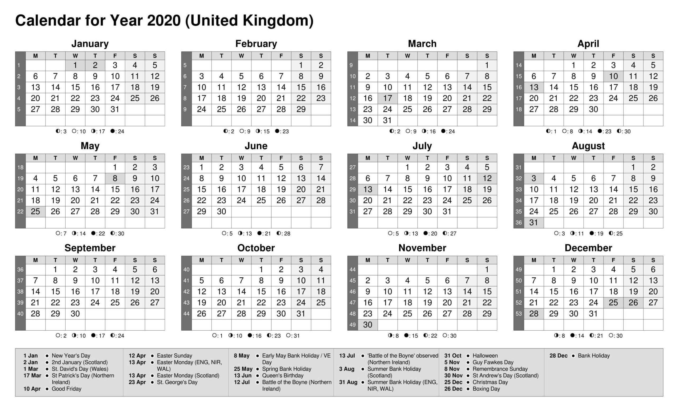 Printable Calendar Year 2020 Holidays | Free Printable