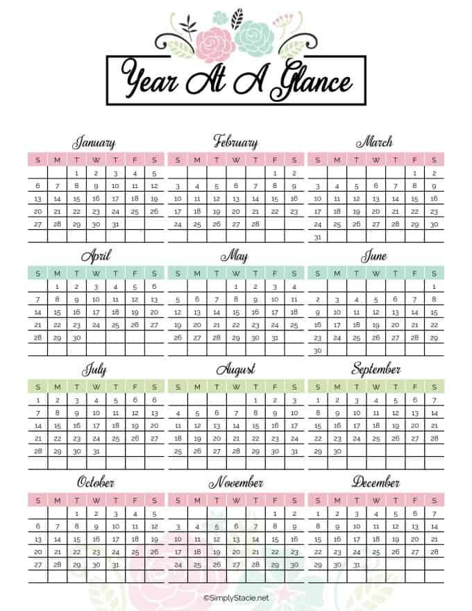 Printable Calendar Yearly - Calendar Templates