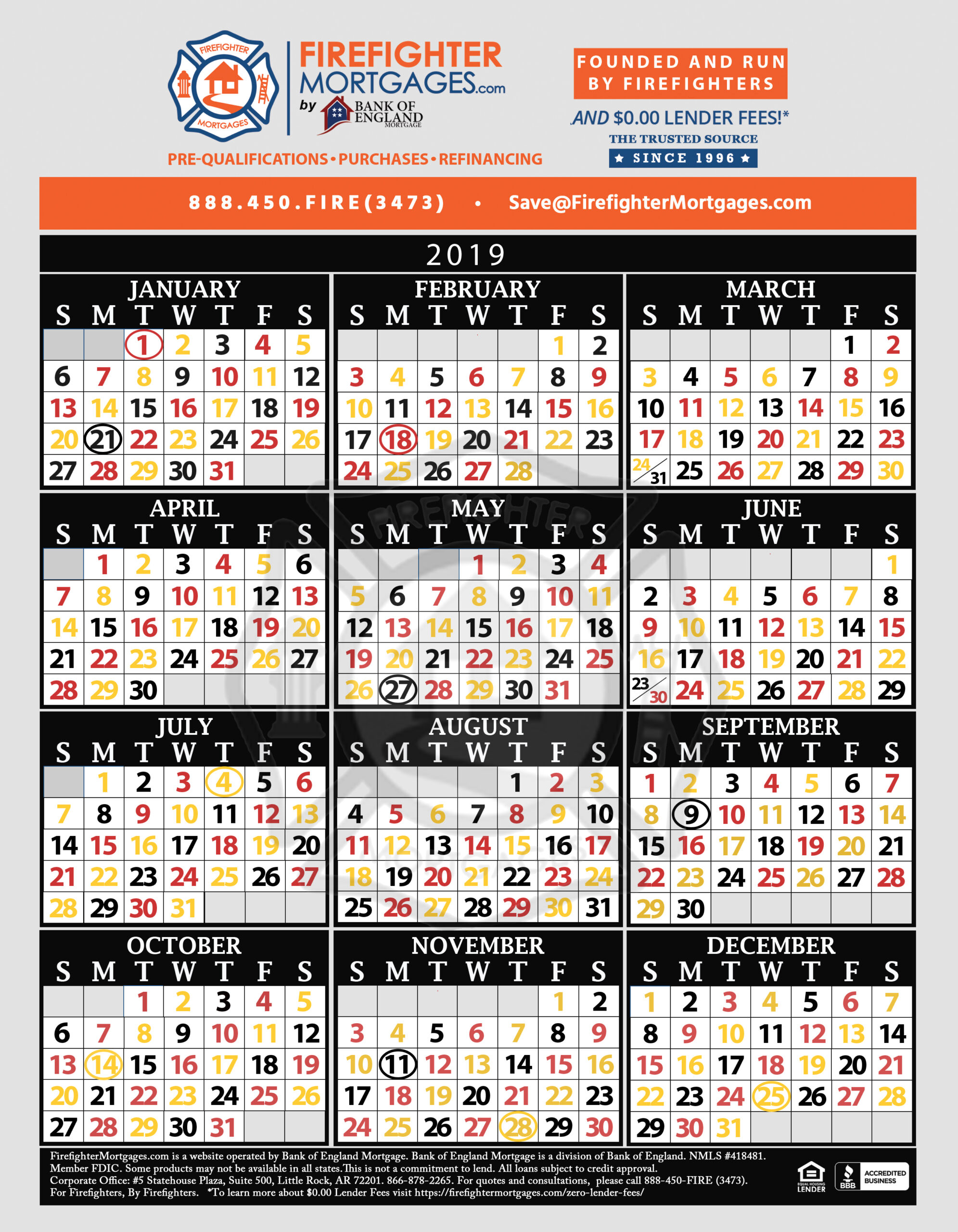 Printable Firefighter Calendar 2020 | Example Calendar