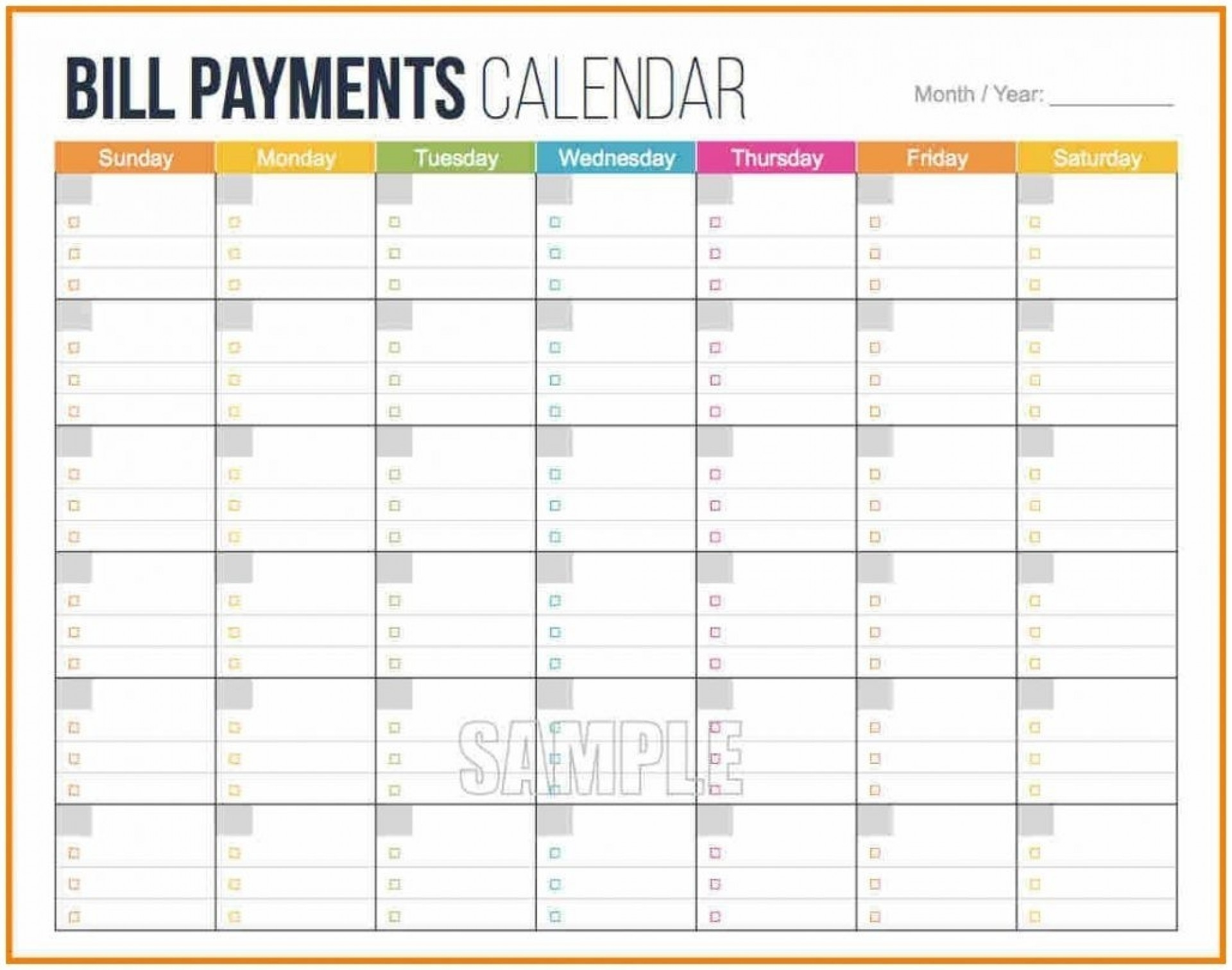 Printable Full Page Monthly Calendar Blank – Template