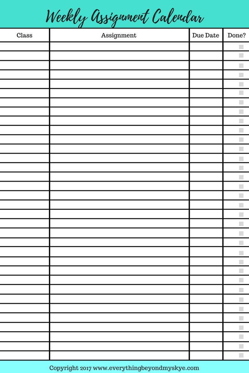 Printable Homework Planner Pdf Assignment Tracker
