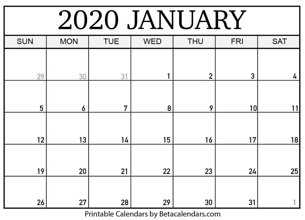 Printable January 2020 Calendar | Calendar Printables