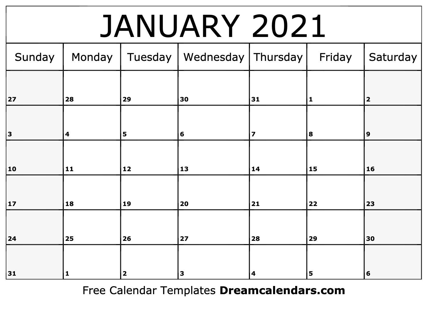 Printable January 2021 Calendar