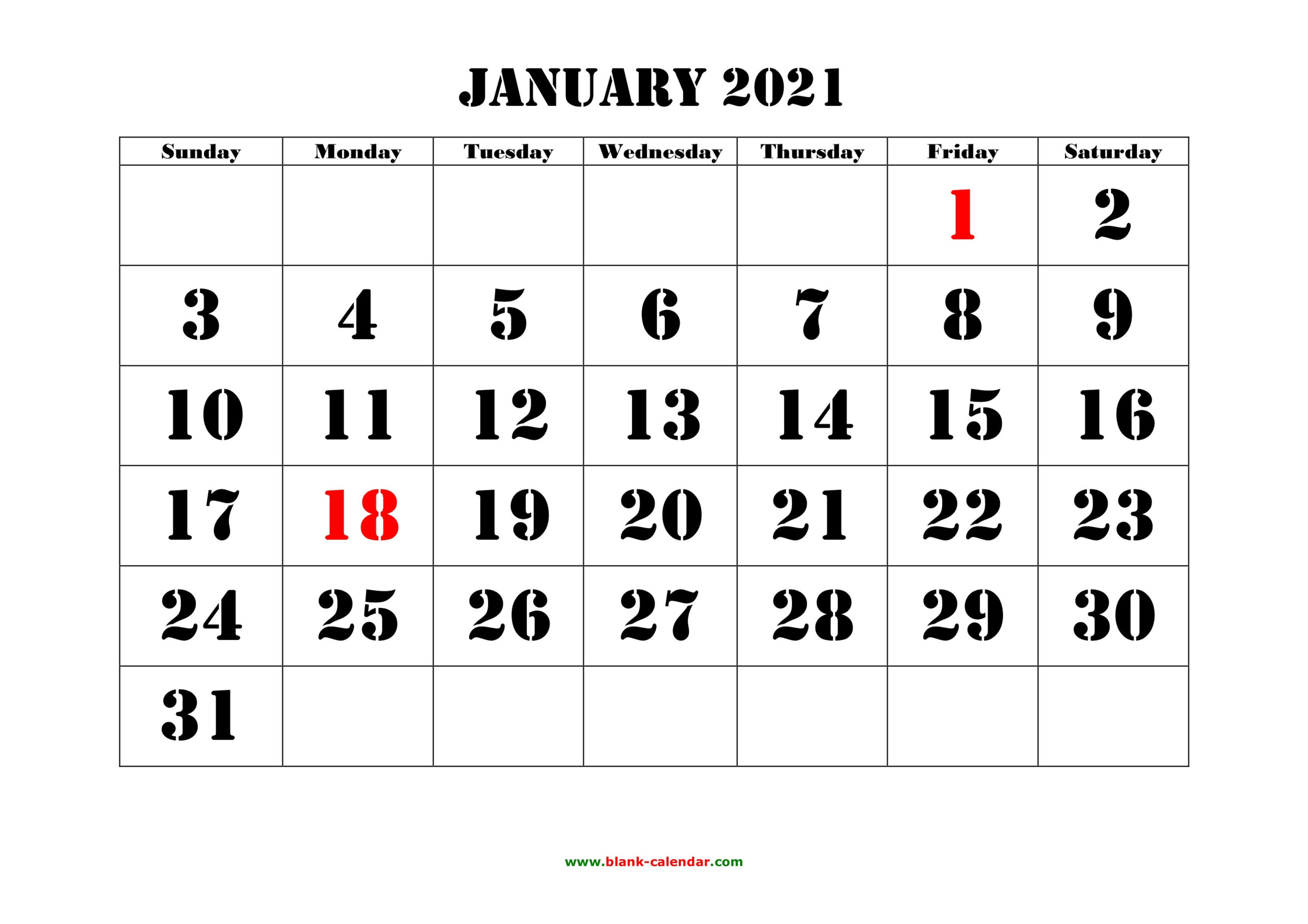 Printable Monthly Calendar 2021 Big Font Free Usage | Free
