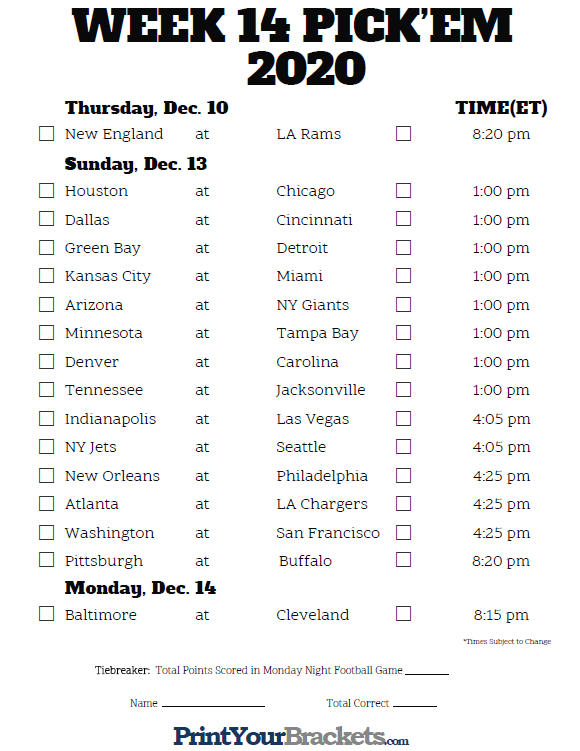 Printable Nfl Week 14 Schedule Pick Em Pool 2020