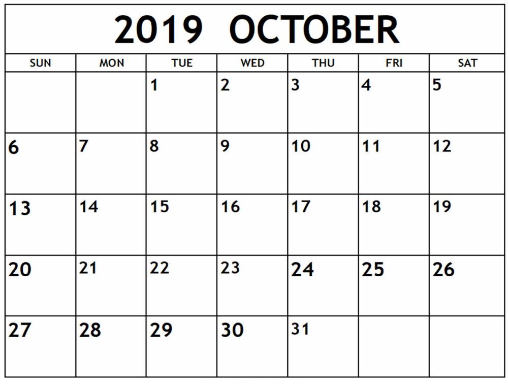 Printable October 2019 Calendar By Week Numbers | Calendar