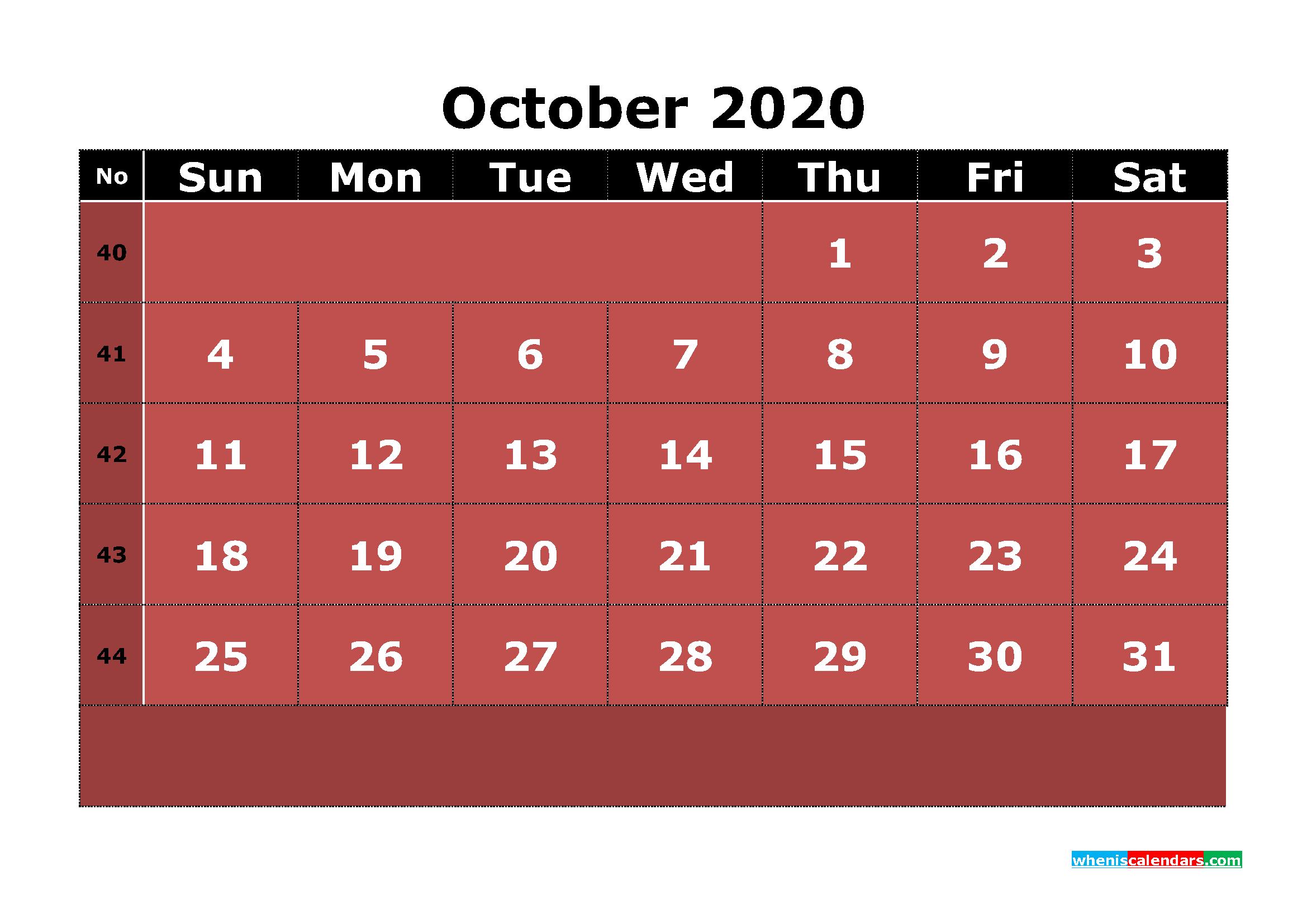 Printable October 2020 Calendar With Week Numbers | Free