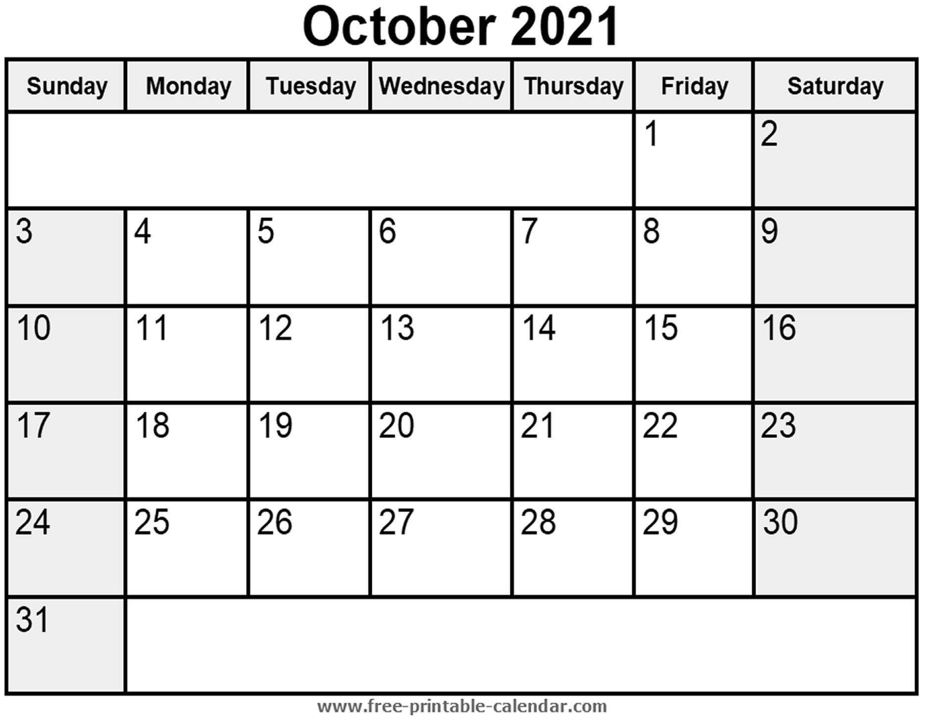 Printable October 2021 Calendar - Free-Printable-Calendar