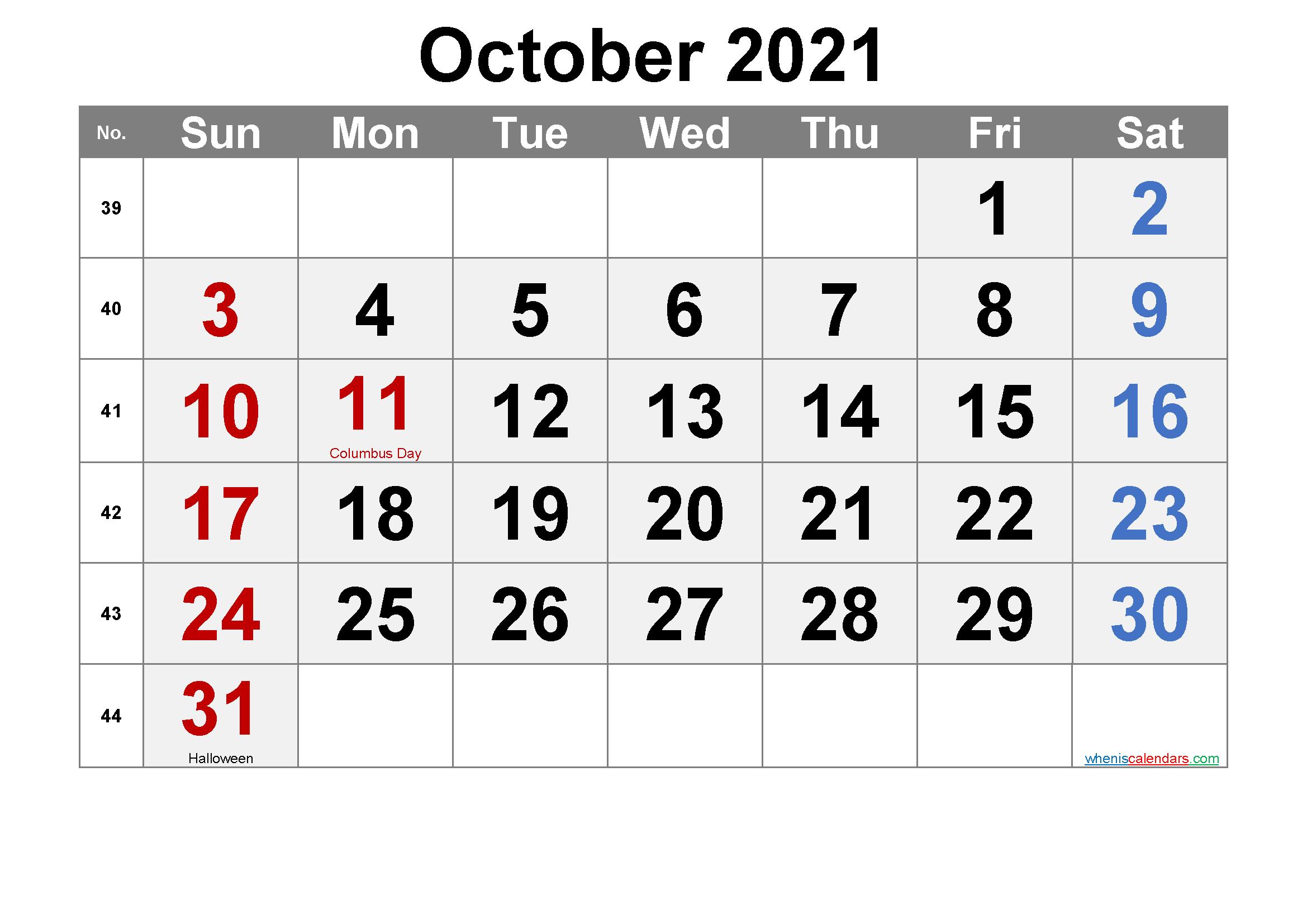 Printable October 2021 Calendar Pdf-Template No.ar21M70
