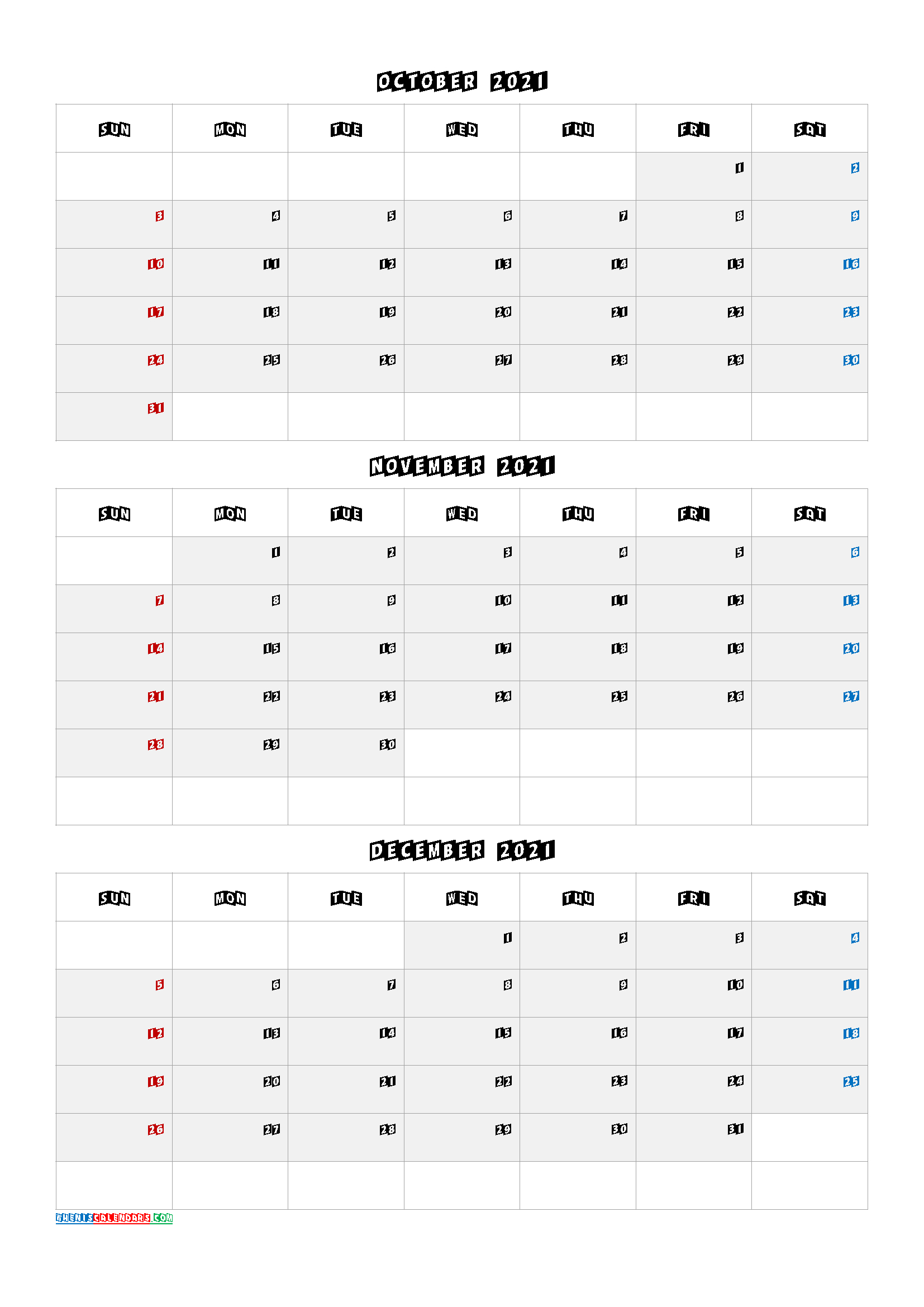 Printable October November December 2021 Calendar-Template