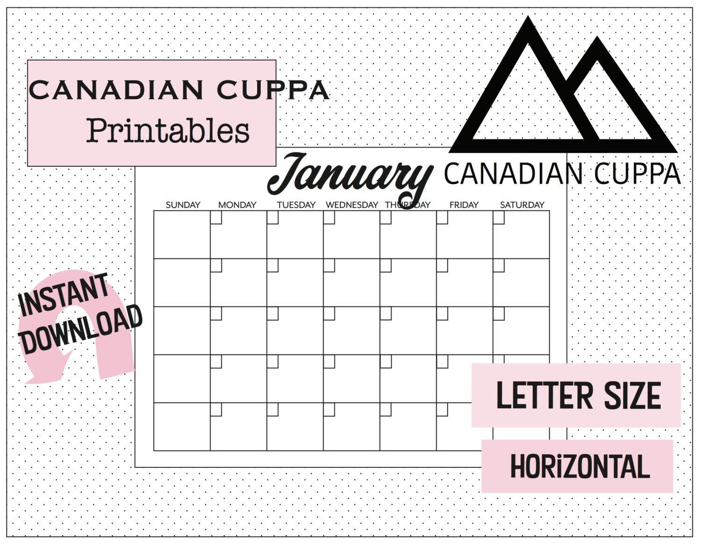 Printable Pdf Blank Calendar 12 Months Sunday To Saturday