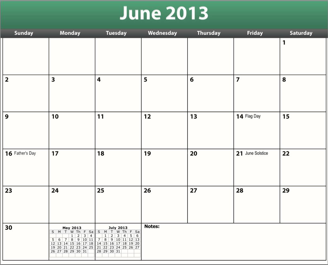 Printable Pdf June 2013 Calendar