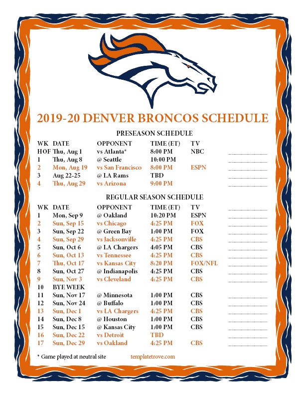 Printable Scdeules For Nfl 2020 2020 | Free Holiday Calendar