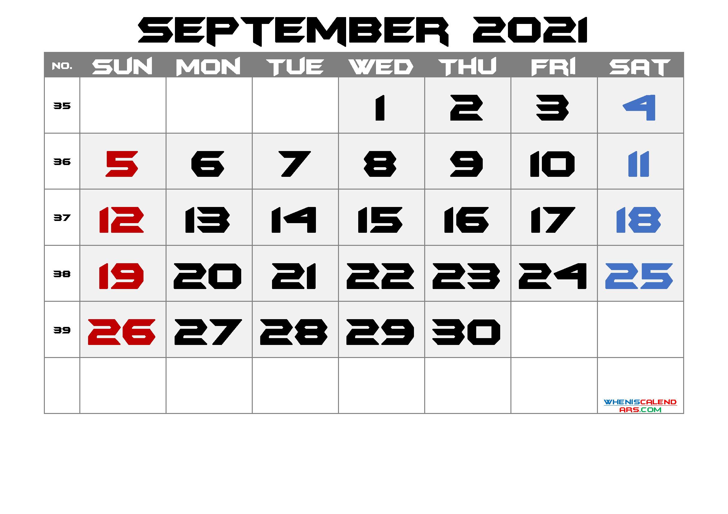 Printable September 2021 Calendar - 6 Templates | Free