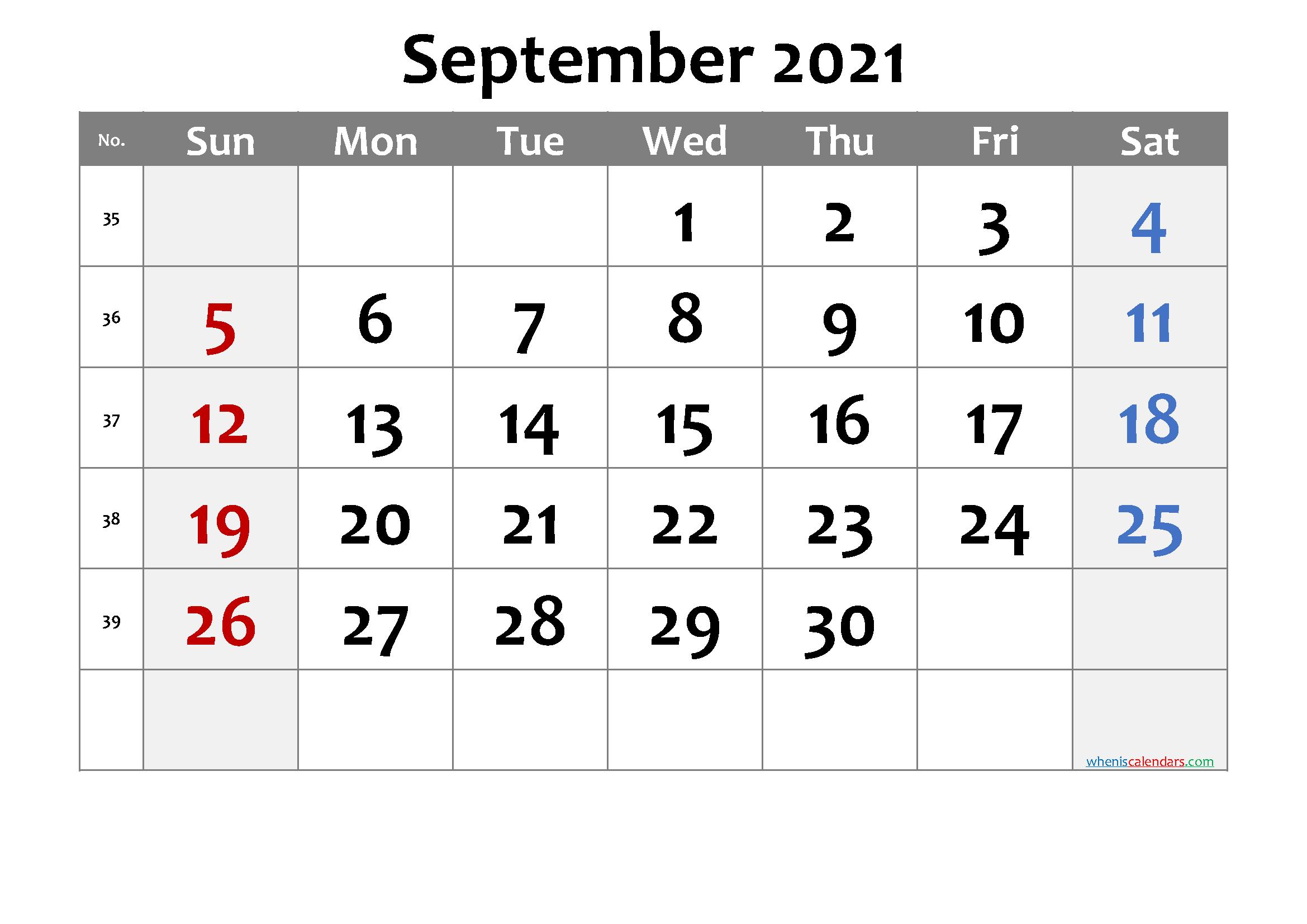 Printable September 2021 Calendar | Free Printable 2020