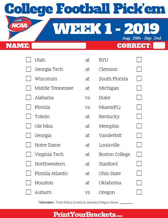 Printable Week 1 College Football Pick'Em Sheets - 2019