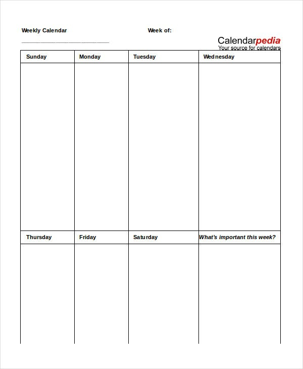 Printable Weekly Calendar - 15+ Free Word, Excel, Pdf, Psd