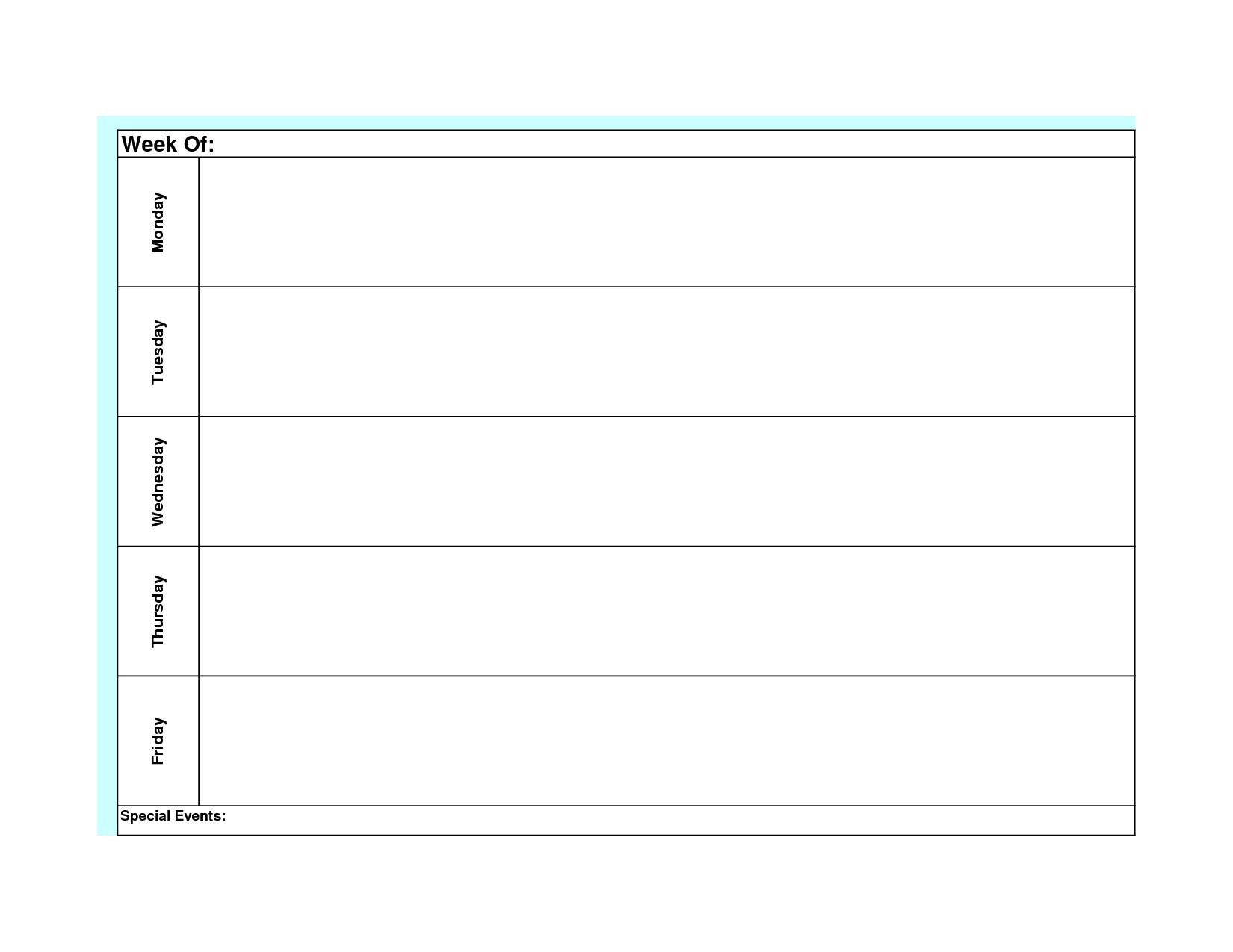 Printable Weekly Calendar Monday Through Sunday