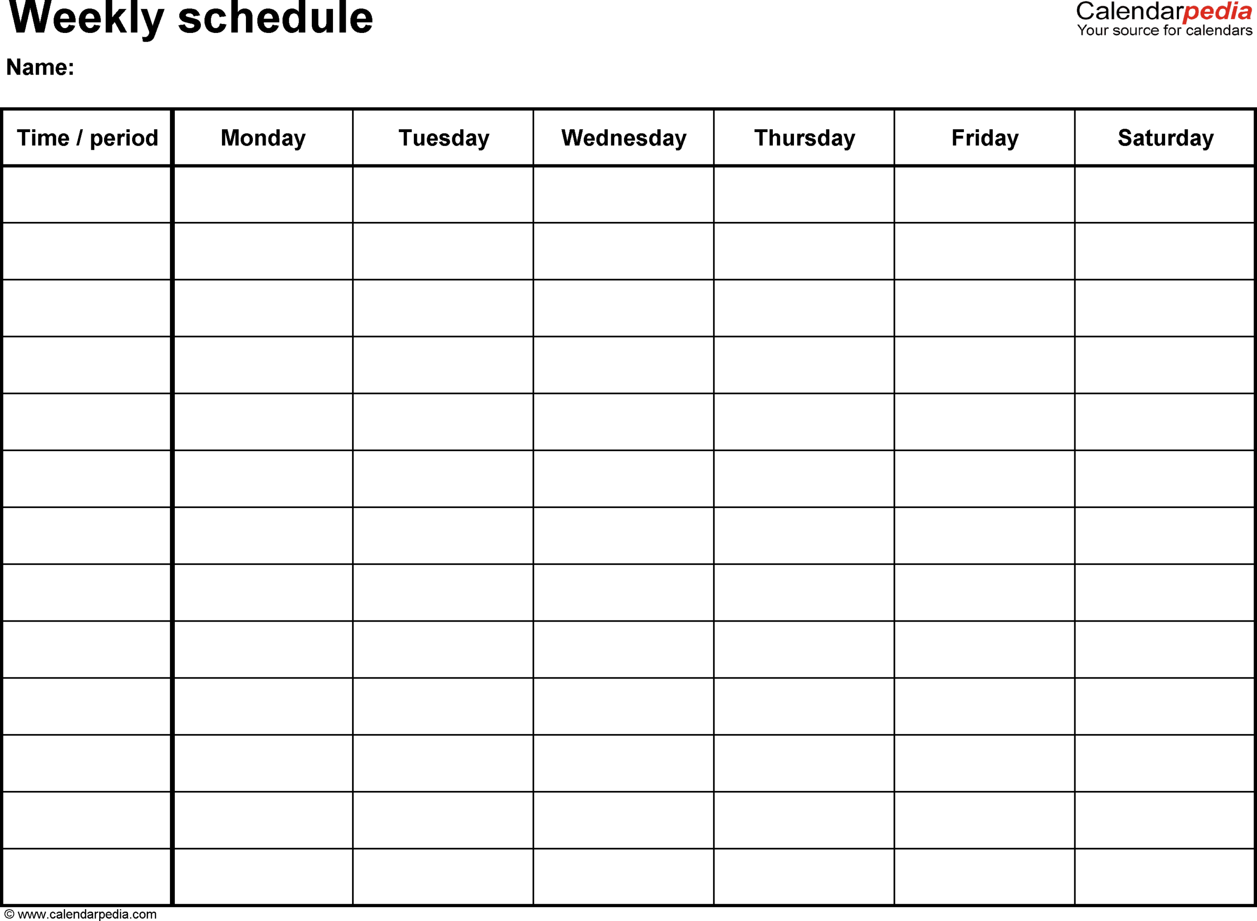Printable Weekly Calendar Sunday Through Saturday