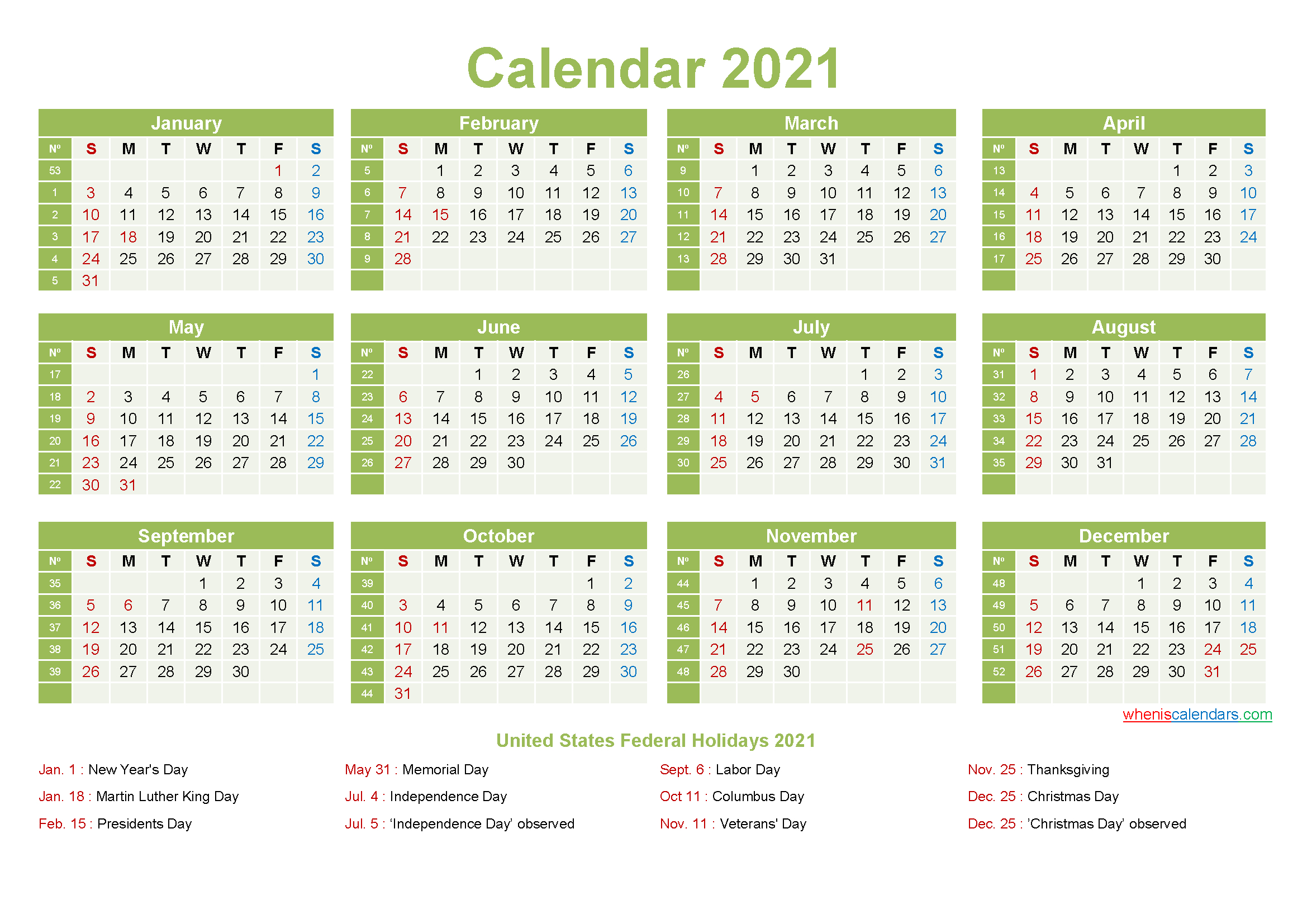 Printable Yearly 2021 Calendar With Holidays Word, Pdf