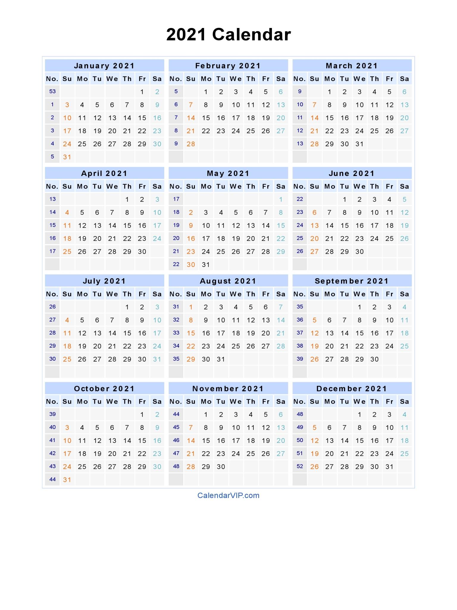 Printable Yearly Calendar 2021 | Printable Calendar 2020