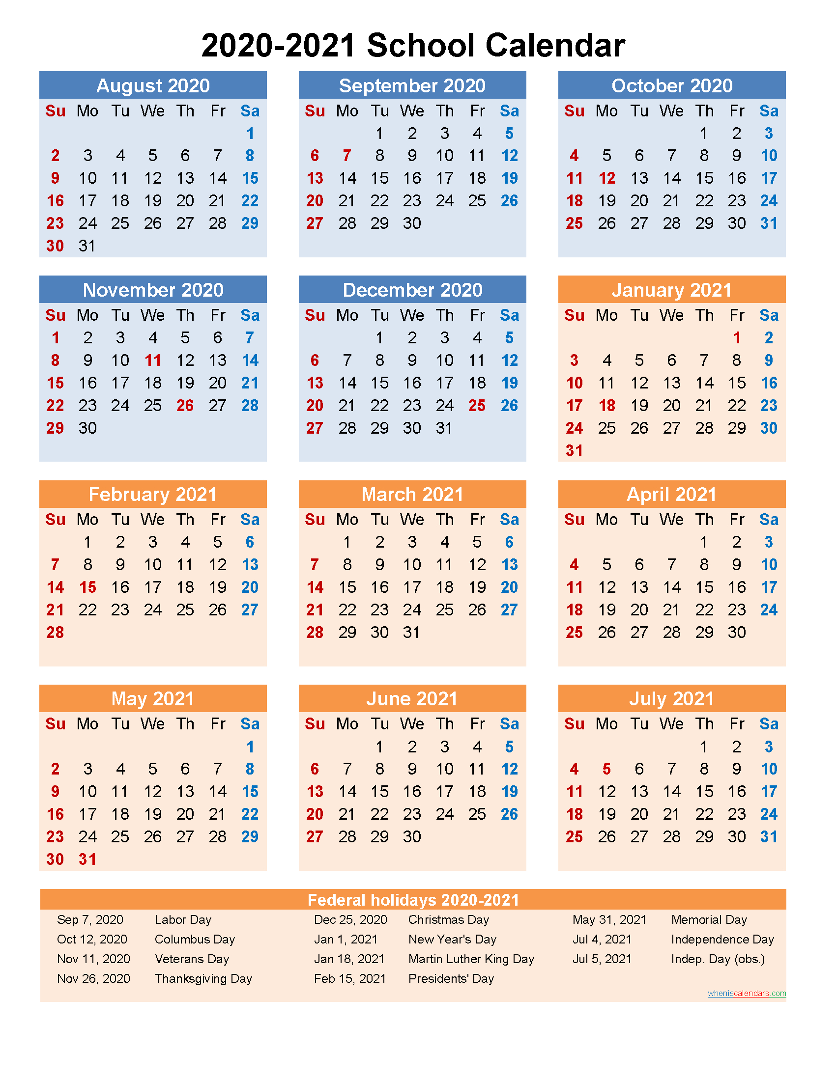 School Calendar 2020 And 2021 Printable (Portrait