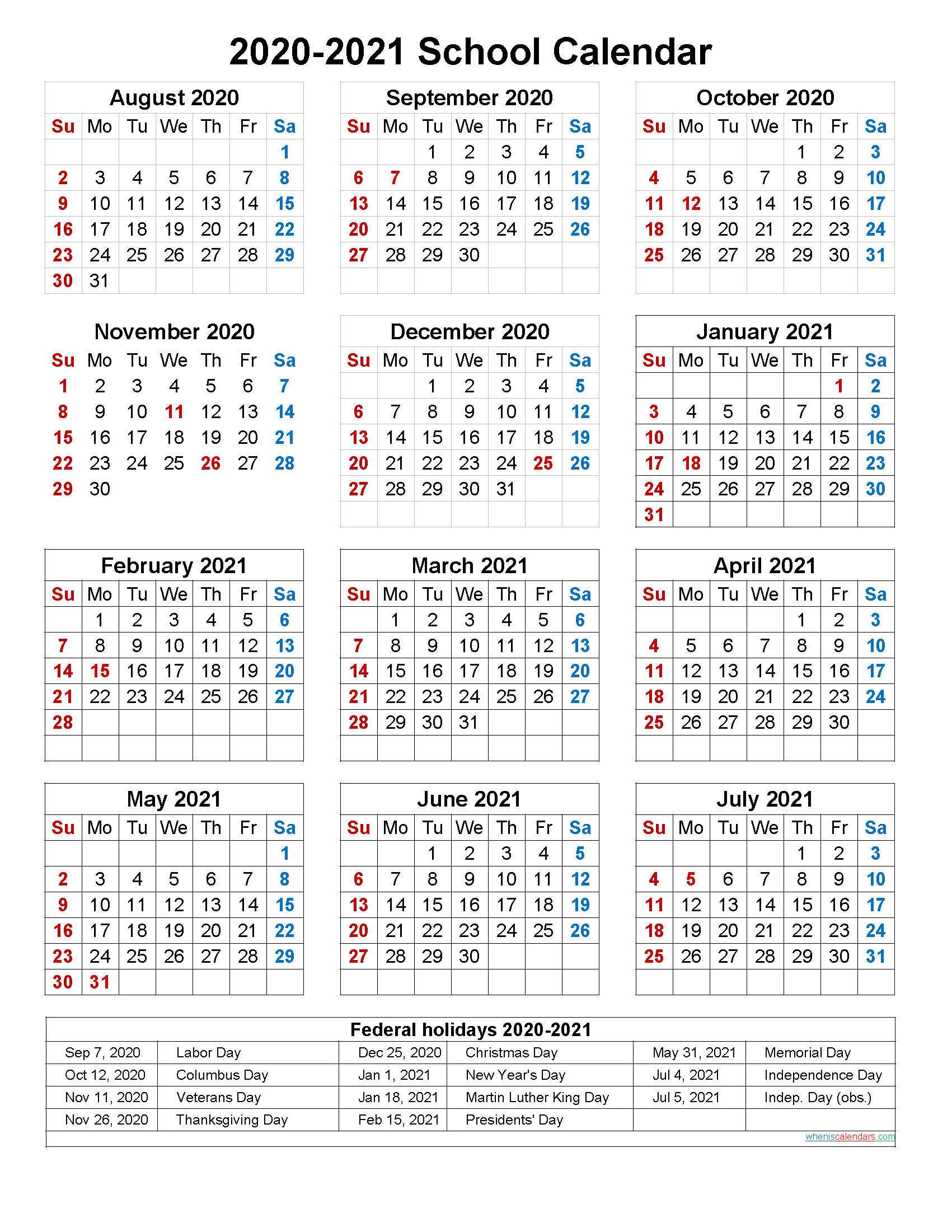 School Calendar 2020 And 2021 Printable (Portrait