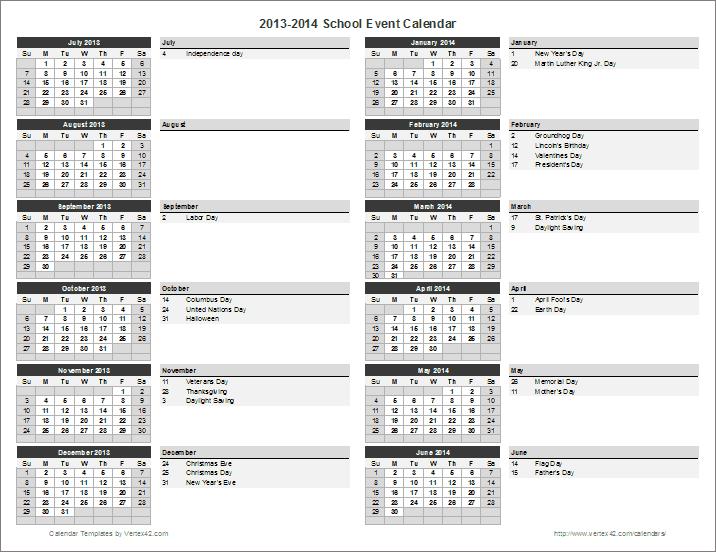School Calendar Template - 2020-2021 School Year Calendar