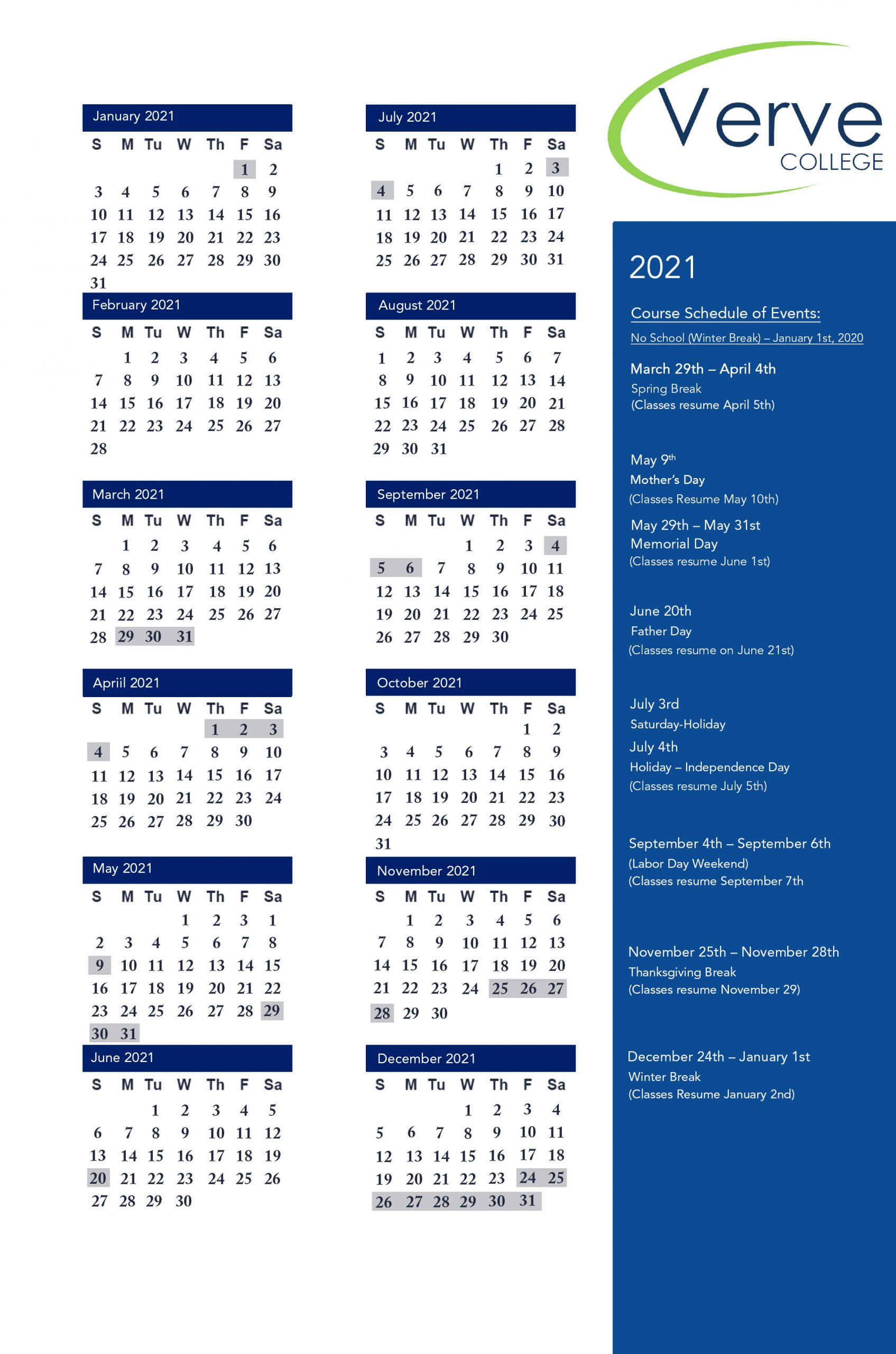 School Calendars | Verve College :: Nursing College