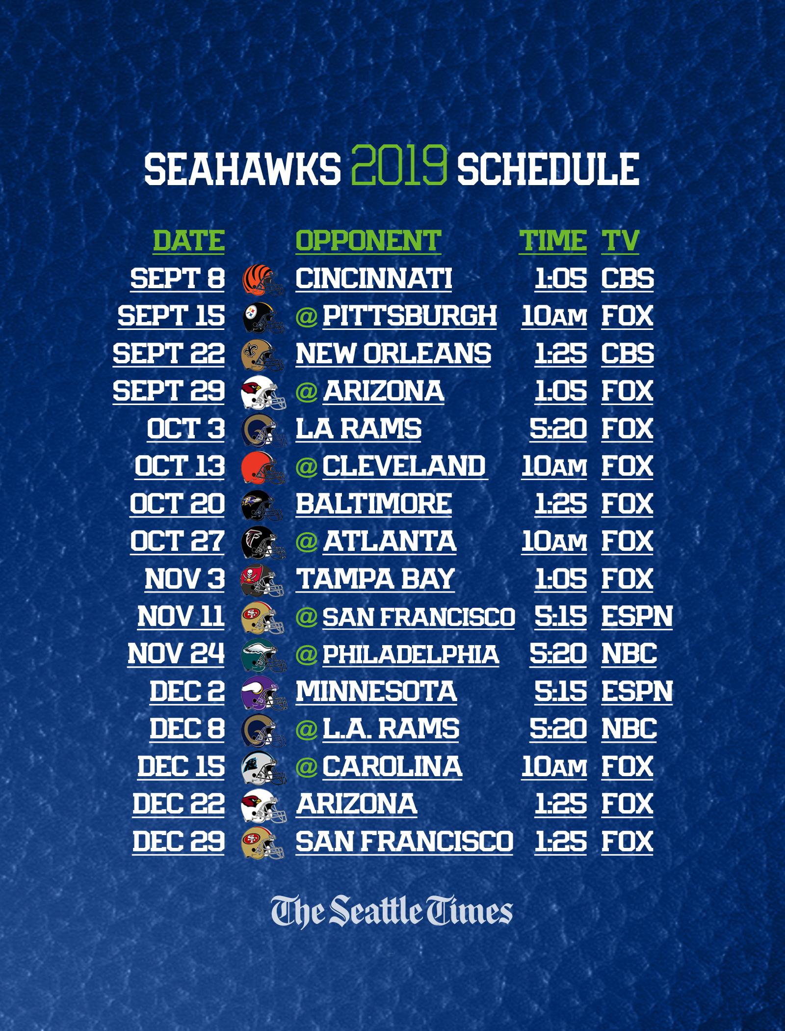 Seahawks 2019 Regular-Season Schedule Is Set — Seattle