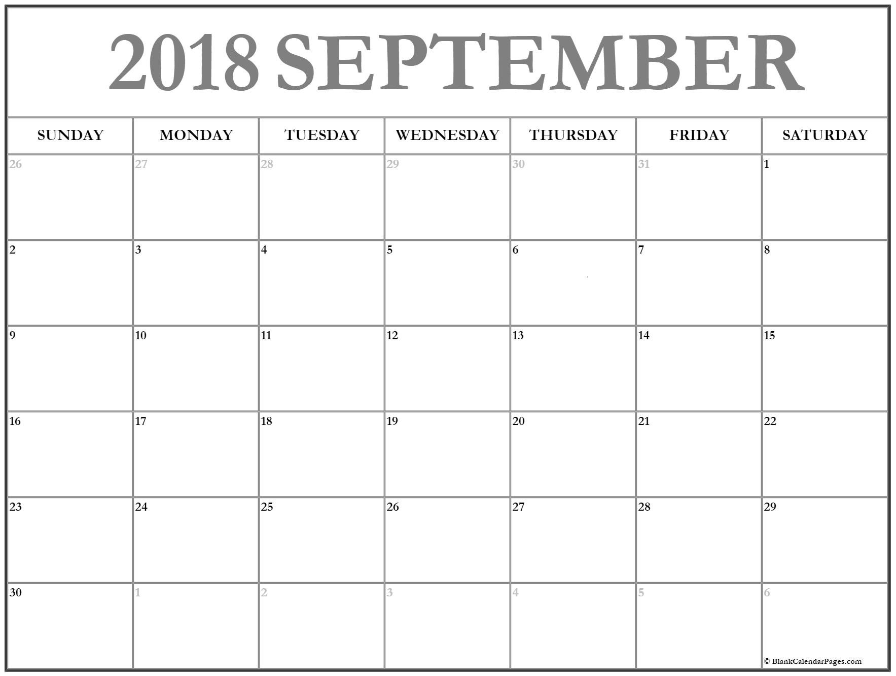September 2018 – Template Calendar Design