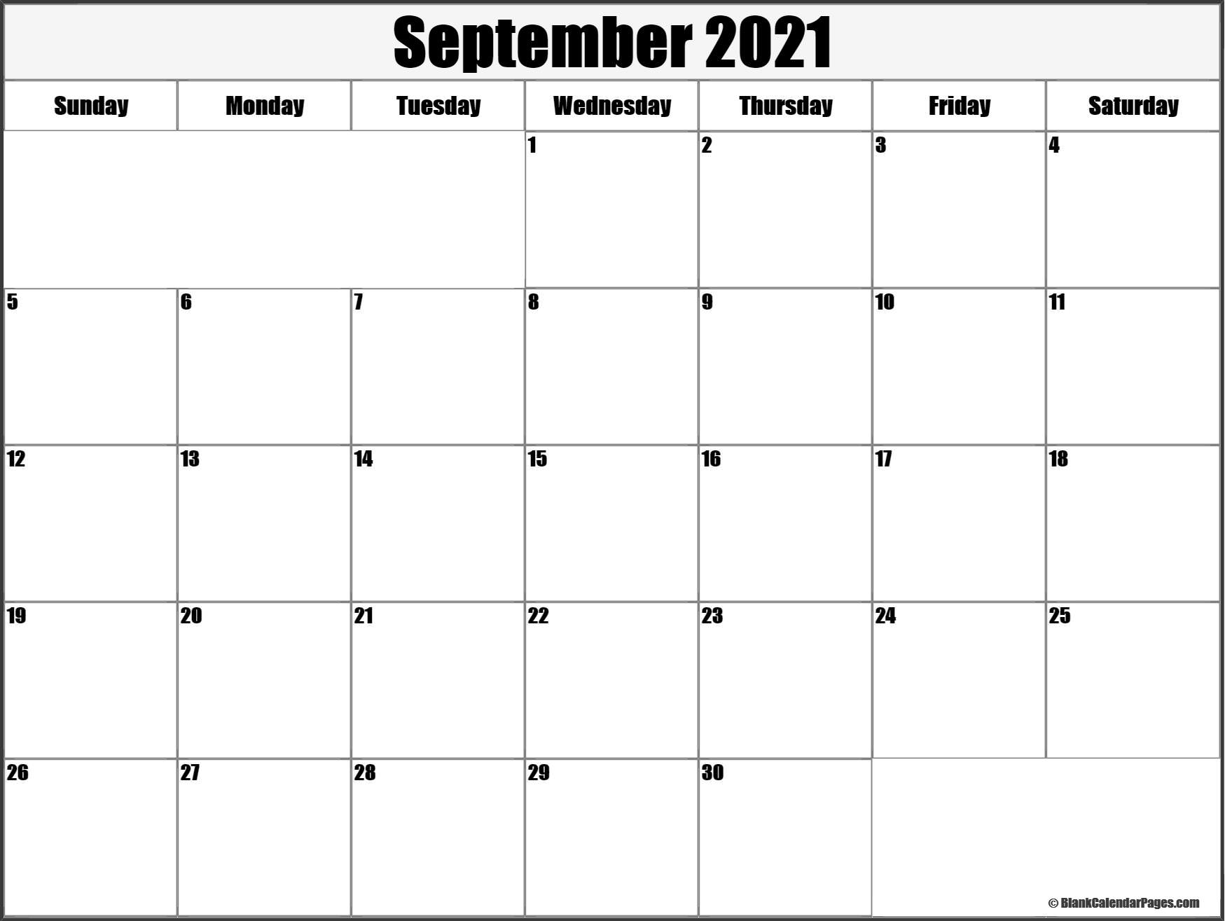 September 2021 Blank Calendar Collection.