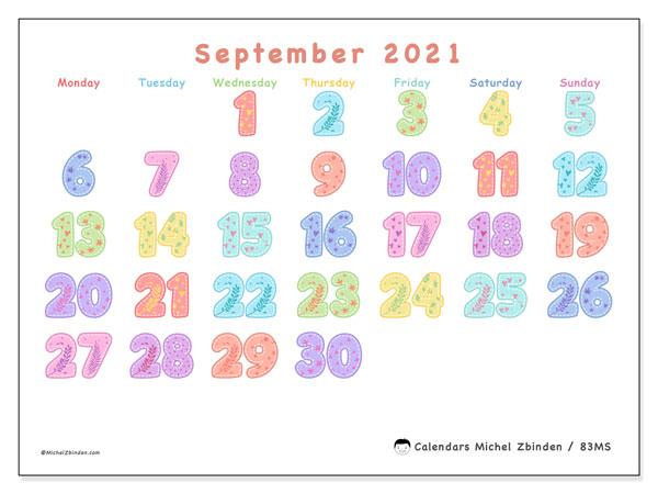 September 2021 Calendar (83Ms) - Michel Zbinden En
