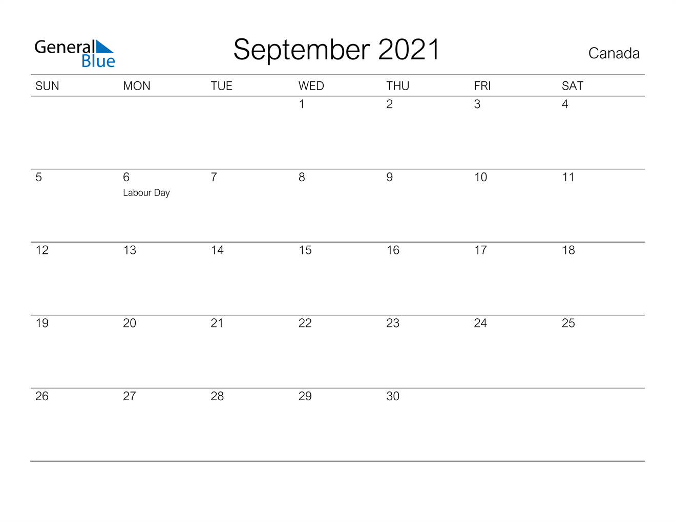 September 2021 Calendar - Canada