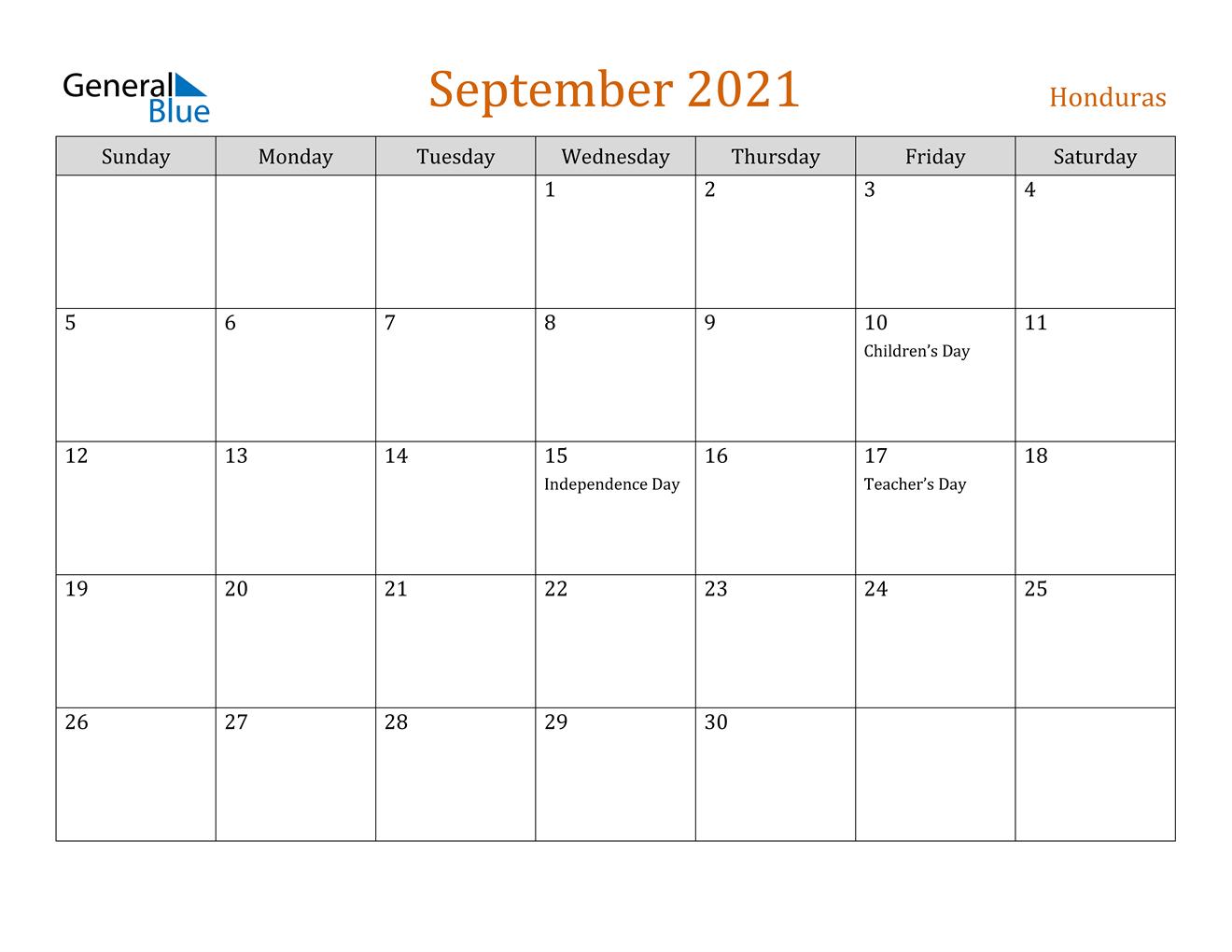 September 2021 Calendar - Honduras